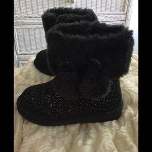 Jumping beans toddler boots 👢 8 med black sparkle